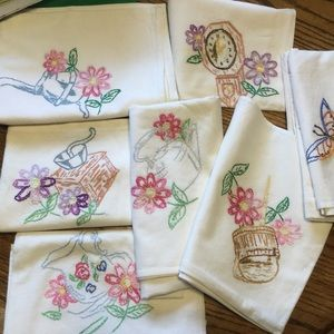 Kitschy Embroidered DishTowels Set of Six